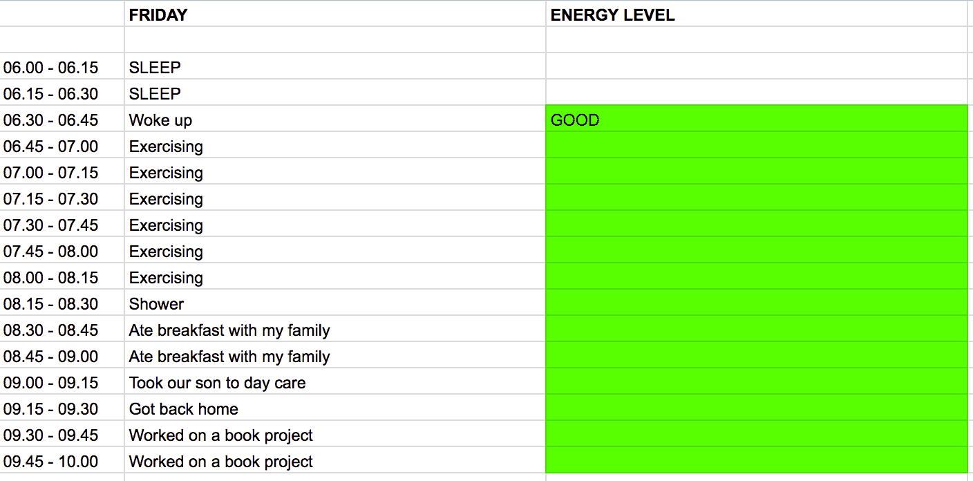 time log - energy levels